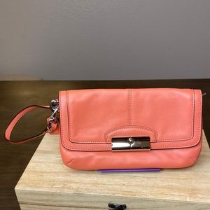 Coach salmon-orange mini bag wallet